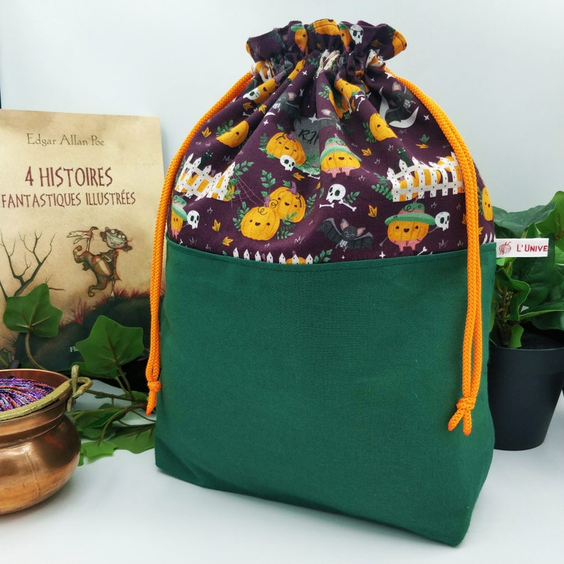 Halloween knitted / crochet project bag kawaiis Pumpkins image 1