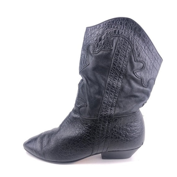 Vintage Black Leather Western Style Boots 9