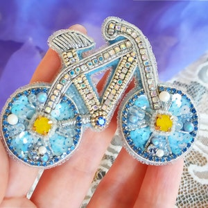 shiny brooch blue bike brooch handmade bike beaded jewerly for sports lovers.