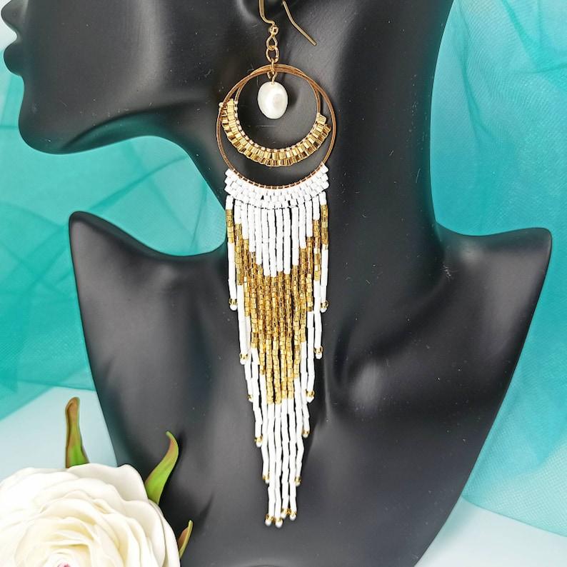 Long Beaded Earrings  Beaded Hoop Earrings  Maxi Dangle Earrings  Party Earrings  Chic Bridal Earrings  Earrings Lover Gift Pearl