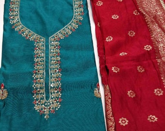 ATHARVA Hand Embroidered Indian Salwar Kameez Pista GreenBanarsi Meenakari DupattaCustom Stitch UnstitchAnarkaliPlazzosGiftCH1592A