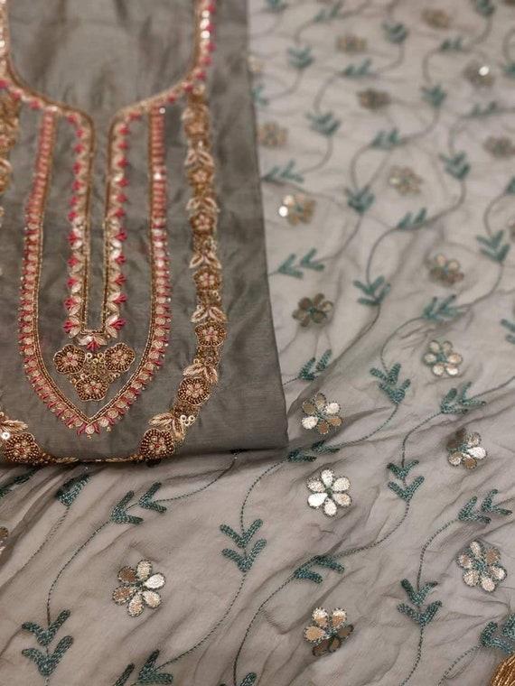 ATHARVA Hand Embroidered Salwar Kameez wEmbroidered Neck in Beige w Banarsi Silk DupattaMaxi Dress Customized StitchingWeddingDS 5001
