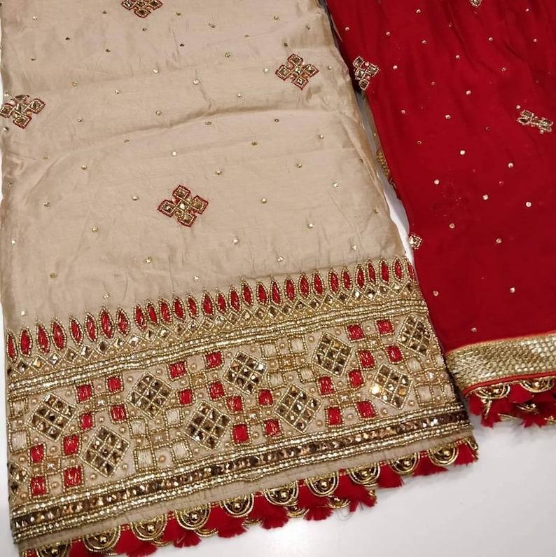 ATHARVA Hand Embroidered Salwar Kameez Beige wHand Embroidered BorderGota Patti /& Embroidered DupattaCustomized StitchingWeddingCH1287C