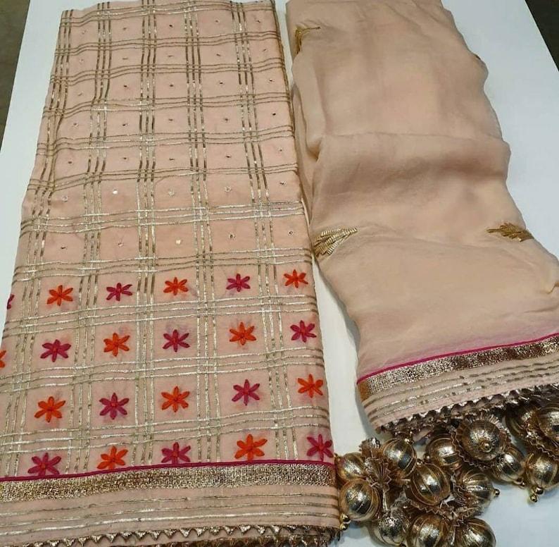 ATHARVA Hand Embroidered Salwar Kameez wEmbroidery Neck Peach wSoft Chiffon Gota DupattaCustom StitchTunicPantsPatiala SalwarCH1549