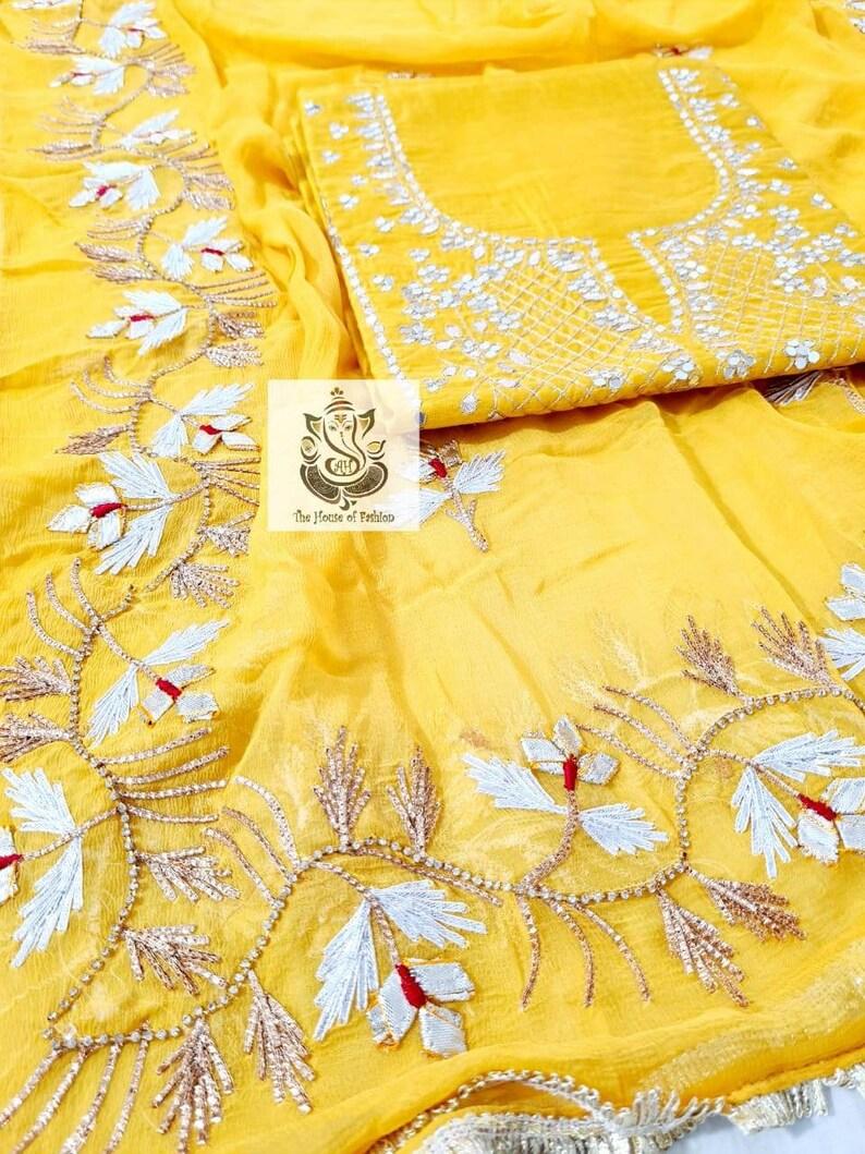 Elegant Gota Patti Border Chiffon Dupatta.CH Atharva Hand Embroidered Salwar Kameez wBeautiful Neck Embroidered Yellow Chanderi Shirt