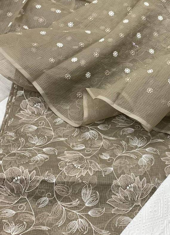 ATHARVA Embroidered Cotton Kota Doria Indian Salwar KameezWhite BlackEmbroidery Shirt BottomKota DupattaPatiala SalwarGiftKO423