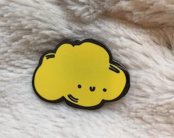 Large Yellow Kawaii Cloud Enamel Pin