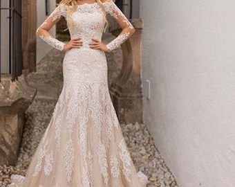 Lace Mermaid Wedding Dress Etsy