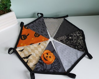 Halloween themed Double sided handmade fabric bunting
