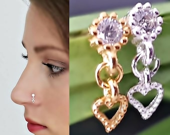 925 Sterling Silver Nose Piercing Zirconia Nose Plug 18 Carat PlateD Authentic Nose Stud Plug Piercing Hanging Jewelry