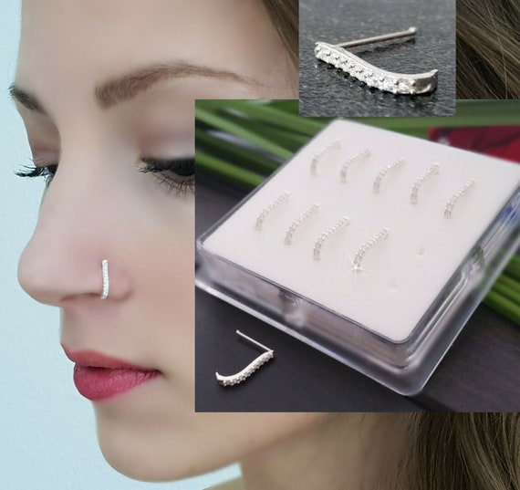 925 Sterling Silver Nose Stud Zirconia Best Quality Nose Etsy