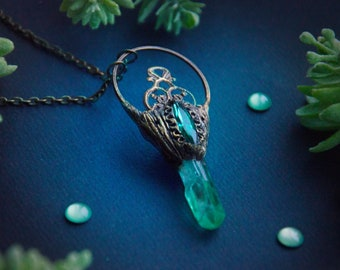 Quirky Off-centre Magical Hag Stone Necklace Wire Wrapped Jewelry Witches Stone Odin Stone Pendant Necklace Witches Jewellery