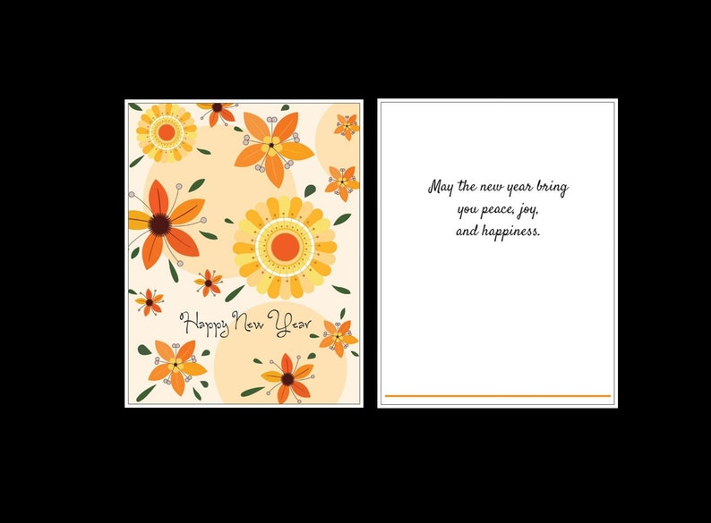 Flower are Orange Happy New Years card with envelope