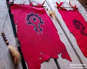 WoW Horde banner gaming decor, World of Warcraft gamer geek gift, Horde wall poster, For the Horde flag
