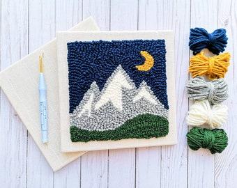 Begin to Punch Needle kit -- Mountain Midnight / Learn to punch needle / DIY Punch needle kit