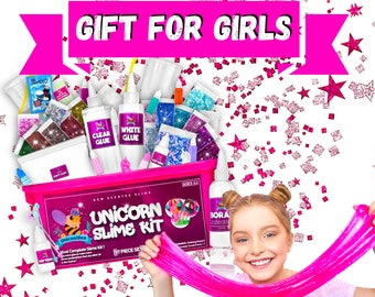Unicorn Slime Kit for Girls 57pcs -Slime Making Kit and Slime Supplies Kit -2 in 1- DIY Slime Kits with Everything- Unicorn Gifts for Girls