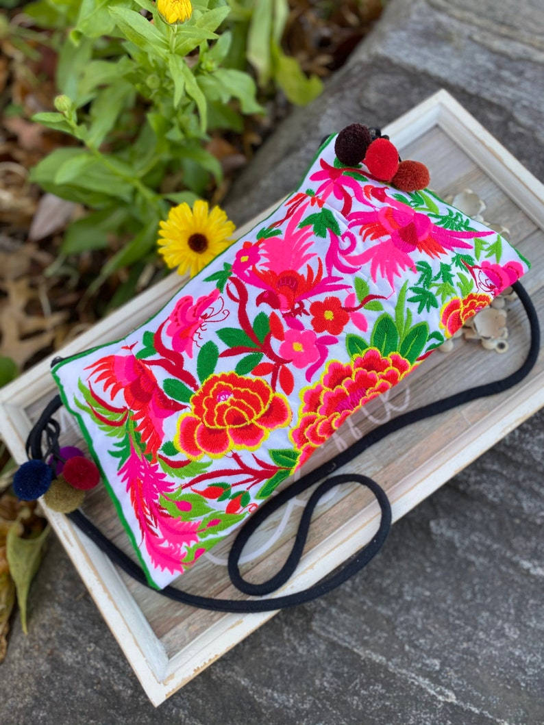 Floral Birds Butterfly Embroidery Crunch Hill Tribe embroidery purse Hand made embroidary crossbody bag Hand Made Purse