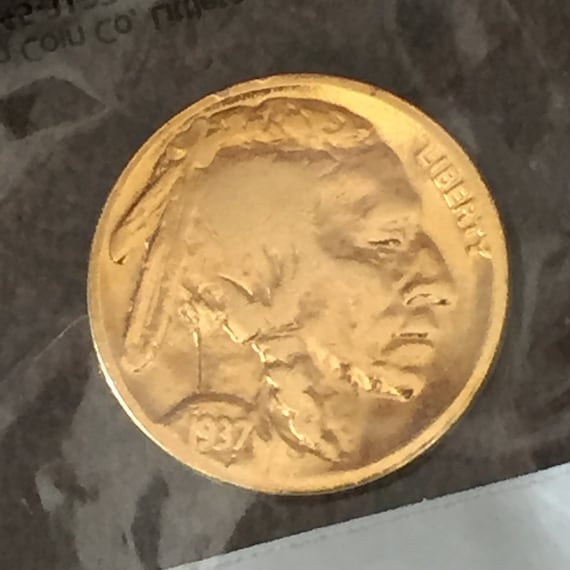 Gold Plated 1937-P Indian Head Buffalo Nickel