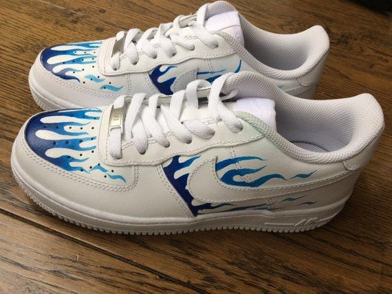 Custom Air Force 1 Nike formateurs flamme bleue | Etsy