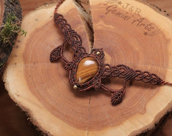Elven Leaves Macrame Choker Necklace / Tiger Eye Macrame Necklace / Fairy Necklace / Filigree Necklace from Macrame
