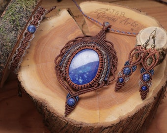 Tribal Lapis Lazuli Macrame Schmuck Set