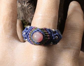 Macrame Ring US Size 13 / Macrame Ring with Stone Bead / Ring Size 13 / Macrame Ring / Ring with Stone Bead / Ring Size