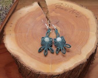 Amazonite macrame earrings / earrings with pendants / hanging earrings / macrame earrings
