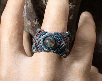 Macrame Ring US Size 11 / Macrame Ring with Stone Bead / Ring Size 11 / Macrame Ring / Ring with Stone Bead / Ring Size