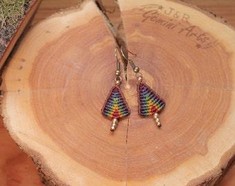 Rainbow macrame earrings / earrings with pendants / hanging earrings / macrame earrings