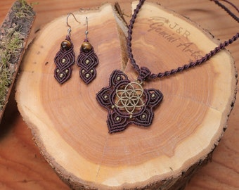 Macrame Jewelry Set Flower of Life / Flower of Life Pendant / Earrings / Tiger's Eye Earrings