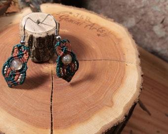 Macrame earrings / Labradorite pearl earrings / Hanging earrings / Macrame Earrings / Forrest Earrings