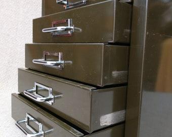Rare Vintage Green Steel Filing Box Case Cabinet  - Desk Standing ~ Stor Brand - Mid Century Industrial