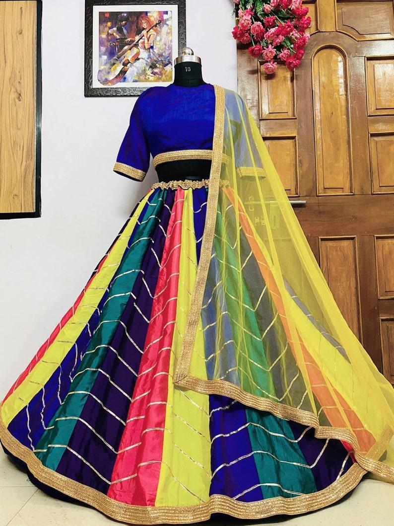 lehenga choli in heavy taffeta silk