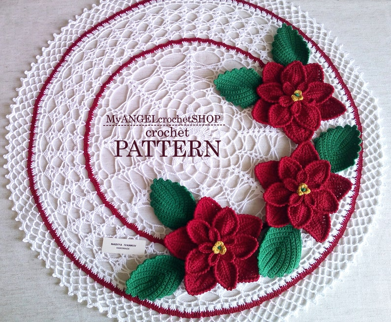 Crochet Pattern Doily with Poinsettia Tutorial Christmas flowers template Poinsettia Christmas  Holiday decor Christmas Appliques Ornaments