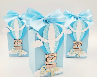 Hot Air Balloon Favor Boxes small treat box Shabby Chic Floral Hot Air Balloon Party gift box 4H x 3W Up /& Away theme Set of 10