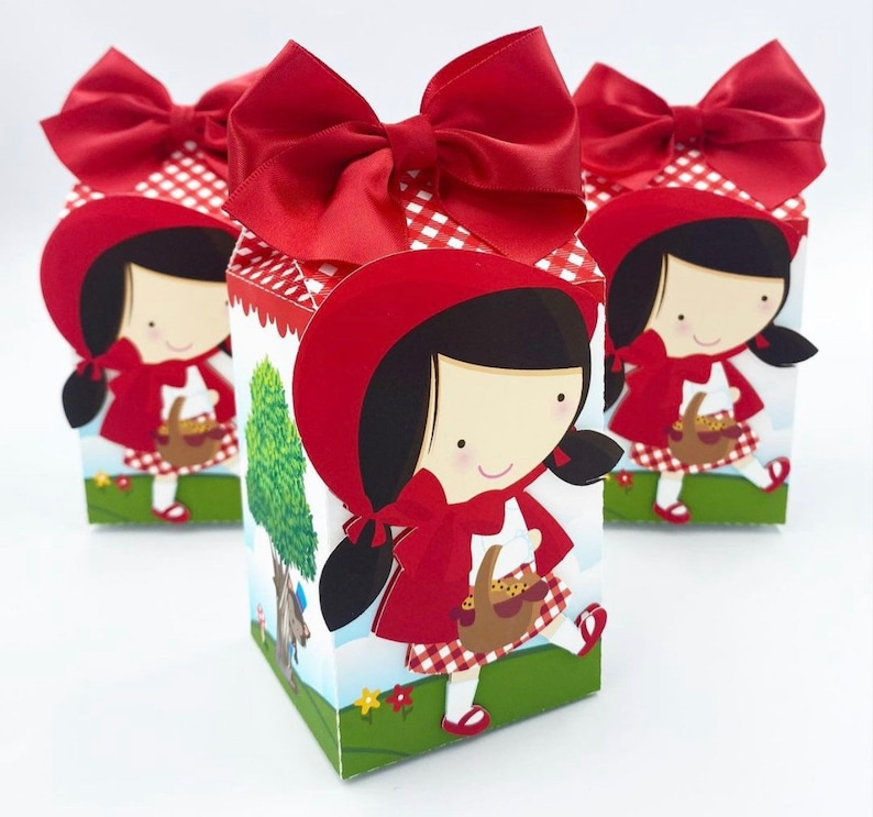 Girls Party Set Of 3 Candy Bag Candy Box Favor bag Party Favor Little Red Riding Hood Favor Boxes