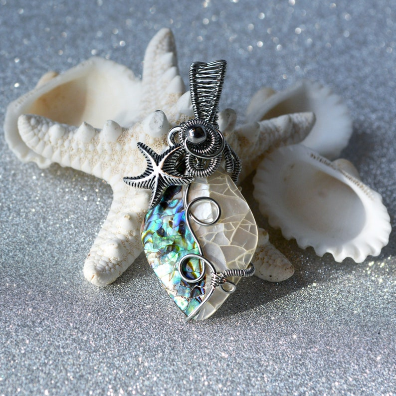 New Zealand Abalone Shell Art Bead wrapped in Silver Copper Wire