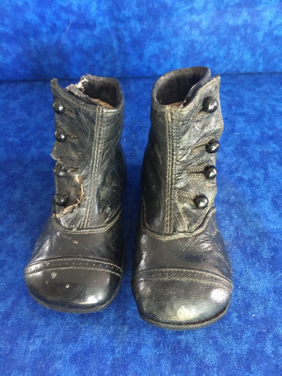 Antique Child's Black Leather Victorian Boots