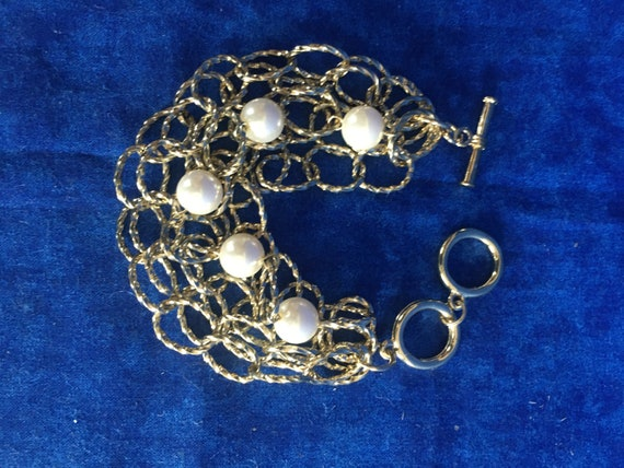 Vintage Gold Chain and Pearl Bracelet - image 1