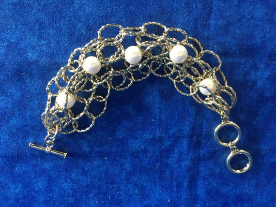 Vintage Gold Chain and Pearl Bracelet - image 3