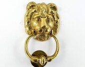 7 quot inch Heavy Polished Lion Head Door Knocker Heavy Solid Brass Vintage Old Style Pull Banger ring