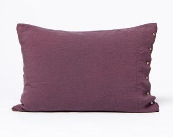 Berry Color Linen Pillowcase. Pure washed linen. Soft, natural, handmade pillowcase. King, queen, standard, custom size pillow case.