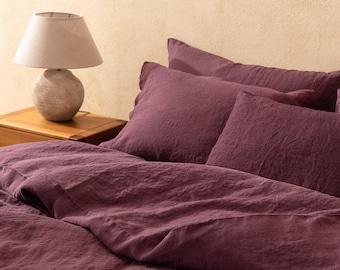 Linen duvet cover in Berry colour. Linen comforter. Comforter King. Queen. Bed linen Custom sizes.