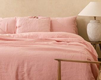 LINEN DUVET COVER. Rose color bedding. Linen comforter. Comforter King. Queen. Bed linen Custom sizes.