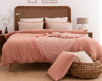 LINEN DUVET COVER. Clay color bedding. Linen comforter. Clay duvet cover. King. Queen. Bed linen Custom sizes.