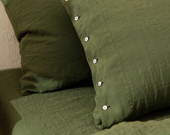Linen Pillowcase in Green Color. Pure washed linen. Soft, natural, handmade pillowcase. King, queen, standard, custom size pillowcase.