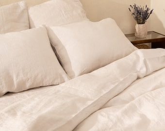 Natural linen duvet cover, washed linen comforter Twill XL Twill Queen King Custom sizes.