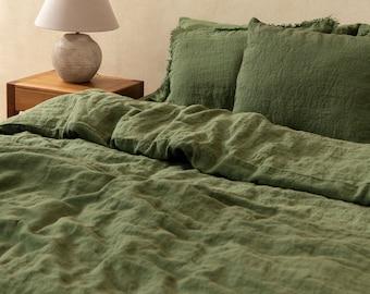Linen Duvet Cover in Green color. Linen comforter. Comforter King. Queen. Bed linen Custom sizes.