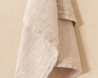 Waffle tea towel in Beige Soft linen kitchen towel Hand towel Guest towel