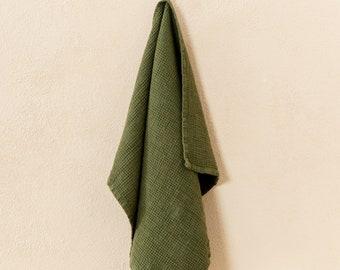 Linen waffle tea towel. Soft linen kitchen towel